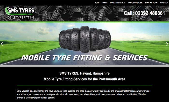 SMS Mobile Tyre Fitting Services website